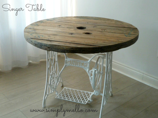 Singer Table This Is A Repurposed Original Sewing Machine Base With Moving Foot Pedal Reclaimed Wooden Top Which Has Been Beautifully Sanded